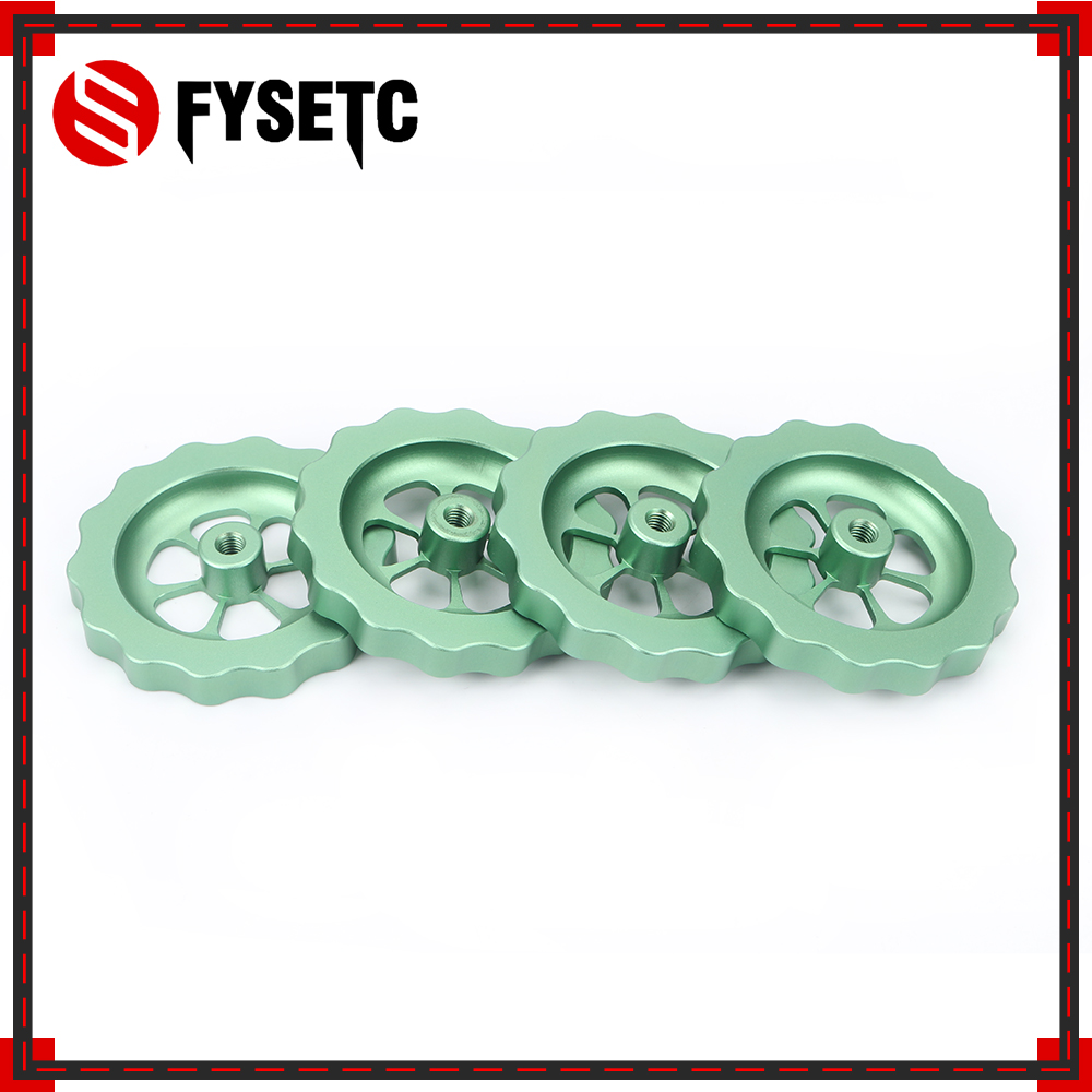 4pcs <font><b>3D</b></font> Printer <font><b>Parts</b></font> Green Big Hand Twist Leveling Nut All Metal For <font><b>TEVO</b></font> <font><b>Tornado</b></font> <font><b>3D</b></font> Printer Ultimate Knob Leveler M5 thread image