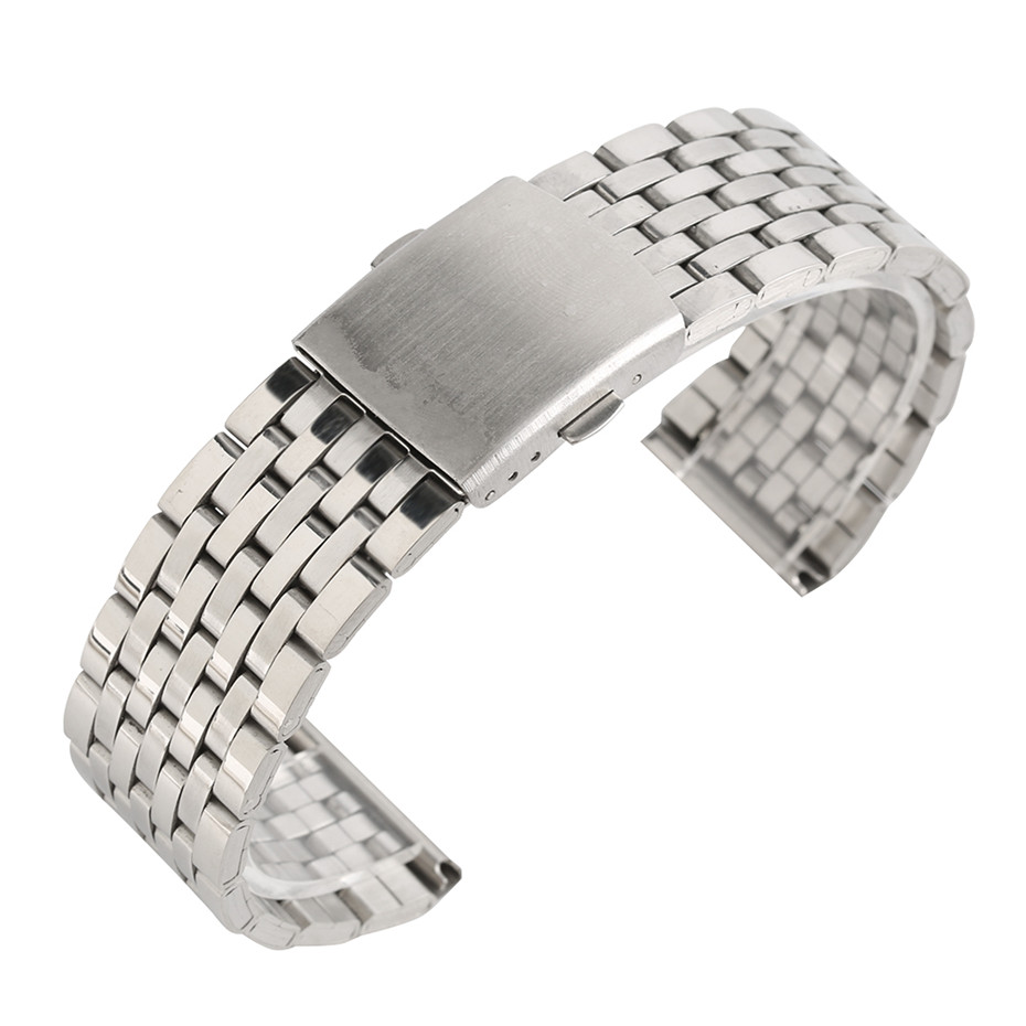 18/20/22mm Silver Hollow Stainless Steel Watch Strap Folding Clasp with Safety Band for Men Women Watches Replacement Bracelet forsining golden stainless steel sport watch steampunk men watch luminous openwork mechanical watches folding clasp with safety