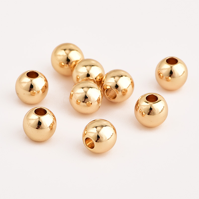 100pcs True Gold Plated Metal Beads Smooth Ball Spacer Bead For Jewelry Making 2/3/4/5/6/8/10mm Jewelry Findings Diy Accessories
