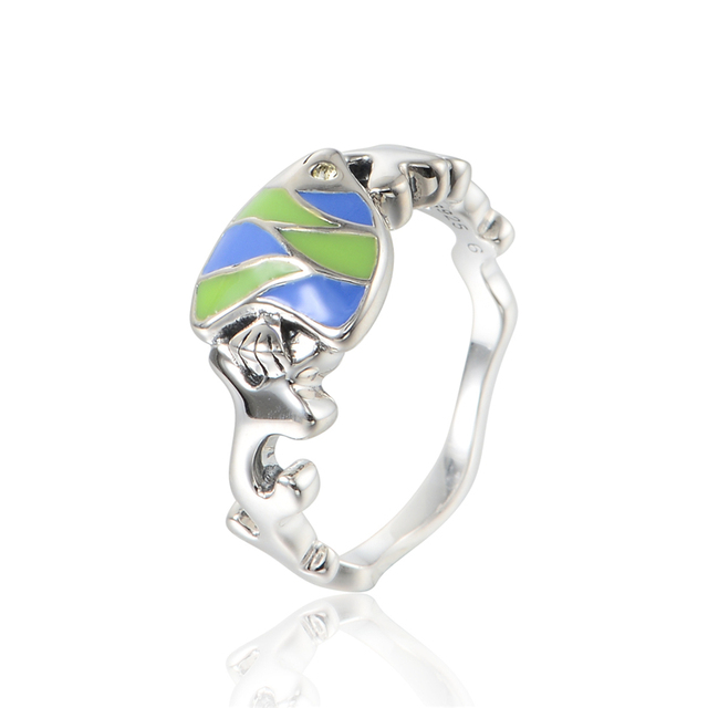 925-Sterling-Silver Tropical Fish Rings Blue & Green Enamel Fashion Jewelry Wedding Rings For Women 925 Sterling Silver Jewelry
