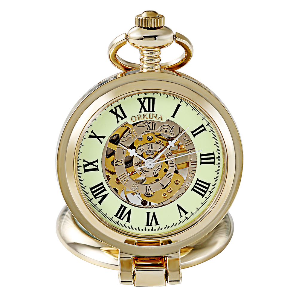 Gift Orkina Men Women Steampunk Skeleton Mechanical Gold Hand Wind Clock Pocket Watch Fob Magnifier Pocket Watch Luminous New 2016 new unique men magnifier skeleton vintage mechanical pocket watch with chain for gift