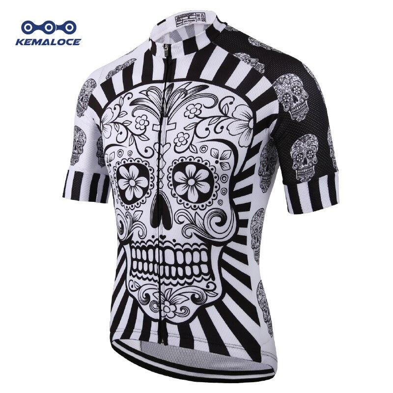 Blanco cráneo impresión por sublimación de ciclismo Jersey mejor 2019 Pro poliéster Bike Wear verano hombres rápido seco ciclismo Top bicicleta camisa