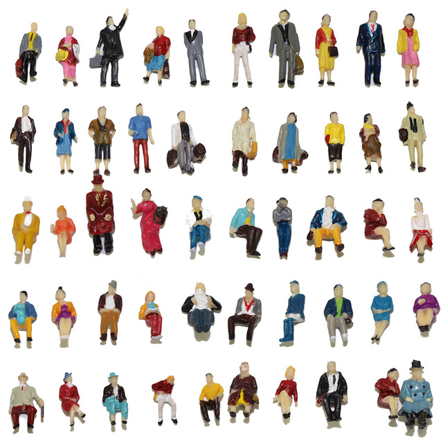 US $11 99 |40 100pcs HO scale 1:87 Seated Standing People sit figures  scenery passengers 1:87 scale model figures model building kit-in Model  Building