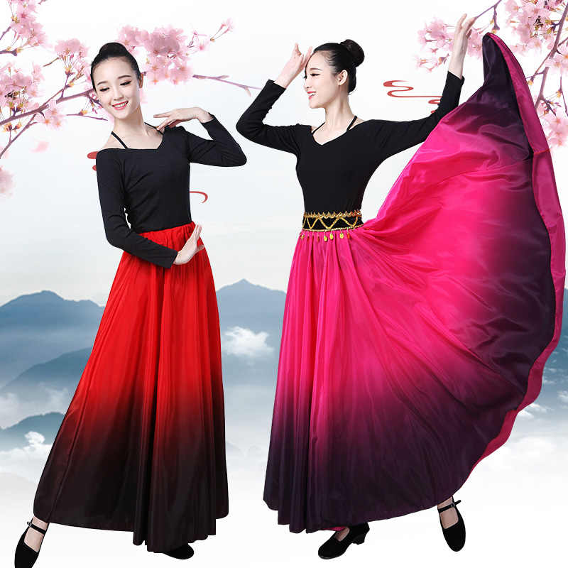 フラメンコダンススカートスペインダンスパフォーマンス衣装女性 vestido フラメンコ 90/180/270/360 度