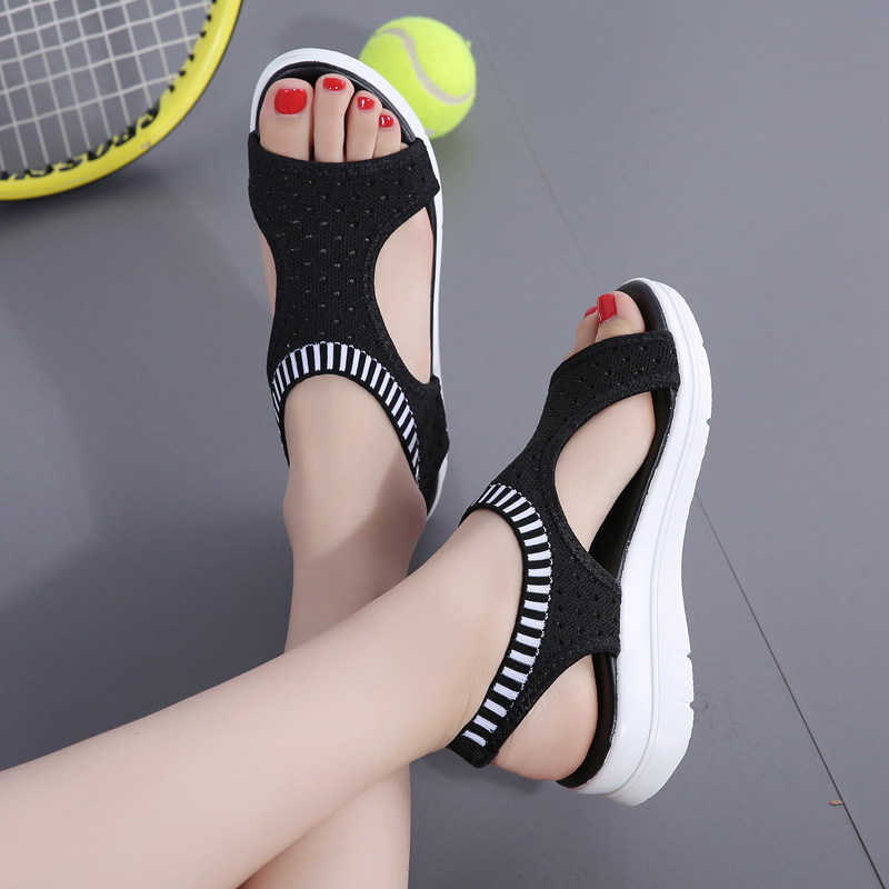 2019 Popular Ladies Sandals Mesh Women Summer Sport Shoes Outdoor Walking Shoes Flat Platform Sandal Stretch Slip on tennis 452019 Popular Ladies Sandals Mesh Women Summer Sport Shoes Outdoor Walking Shoes Flat Platform Sandal Stretch Slip on tennis 45