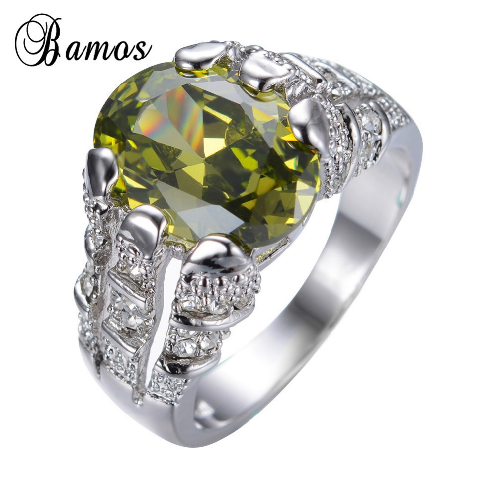 Male Peridot Ring White Gold Filled Jewelry Vintage Wedding Rings Promise Engagement  Rings For Men Bague