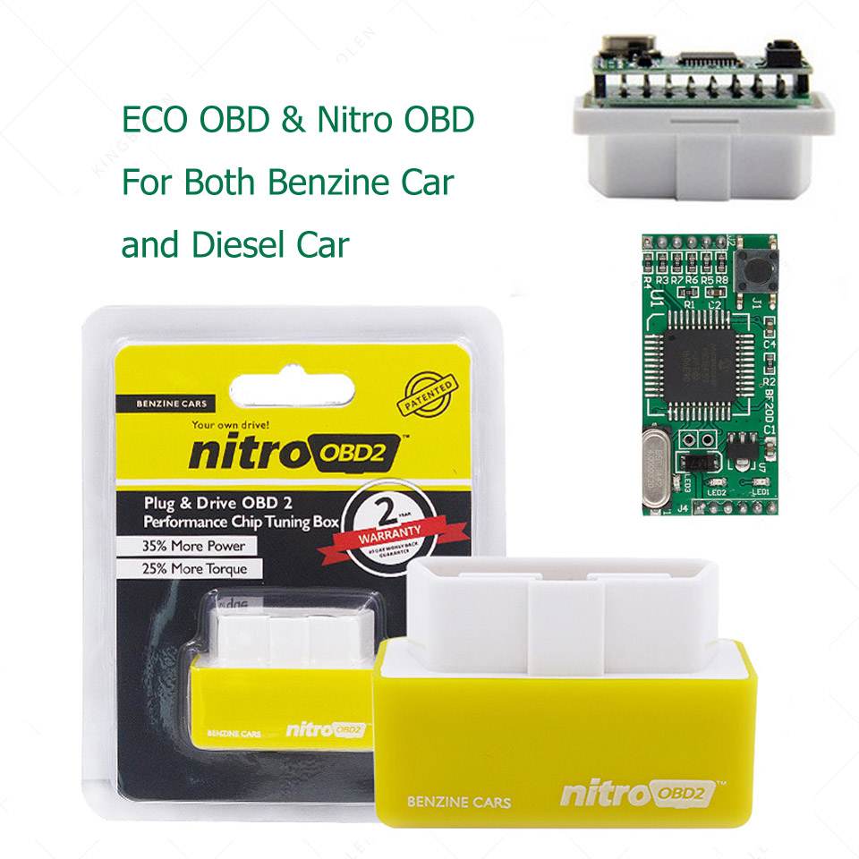 <font><b>ECO</b></font> OBD2 & Nitro OBD2 Full Chip Tuning <font><b>Box</b></font> NitroOBD For Benzine <font><b>Car</b></font> And Diesel <font><b>Car</b></font> <font><b>Eco</b></font> Fuel IC Chip Real Double Layers Board OBD image