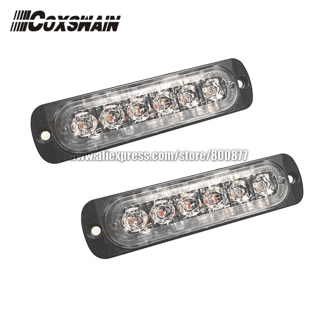 2 X super bright car external 6-LED warning light surface mounting strobe headlight, 22 flash patterns, 6 * 3W LED (L131)