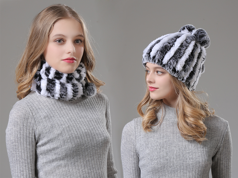 Womens Winter Hats Scarf Knitted Real Rabbit Fur Hat Natural fur Neck Scarf Girls Winter Warm Hat Beanies (12)