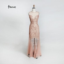 9577a4b247 Finove New Arrivals Evening Dress 2019 Charming Rose Gold Sequined Sexy See  Through Chiffon Sweet ...