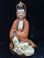Античная статуя керамика династии Цин, красный фискальный Будда скульптура #2, окрашенные ремесла, украшения, коллекция и украшения, бесплат