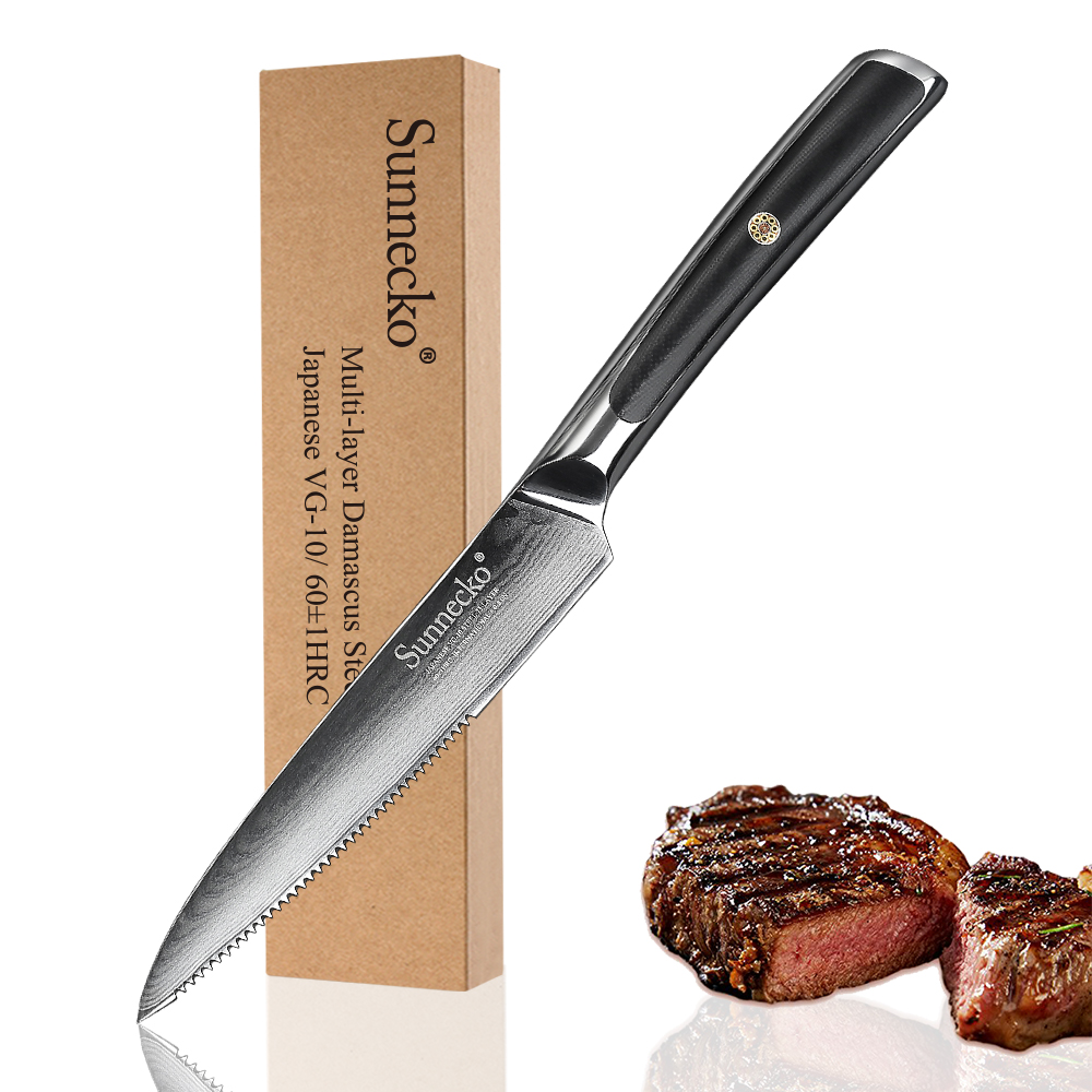 """SUNNECKO Professional 5"""" Steak Knife Damascus Japanese VG10 Core Steel Blade Kitchen Knives G10 Handle Sharp Meat Cutter Knife-in Kitchen Knives from Home & Garden    1"""