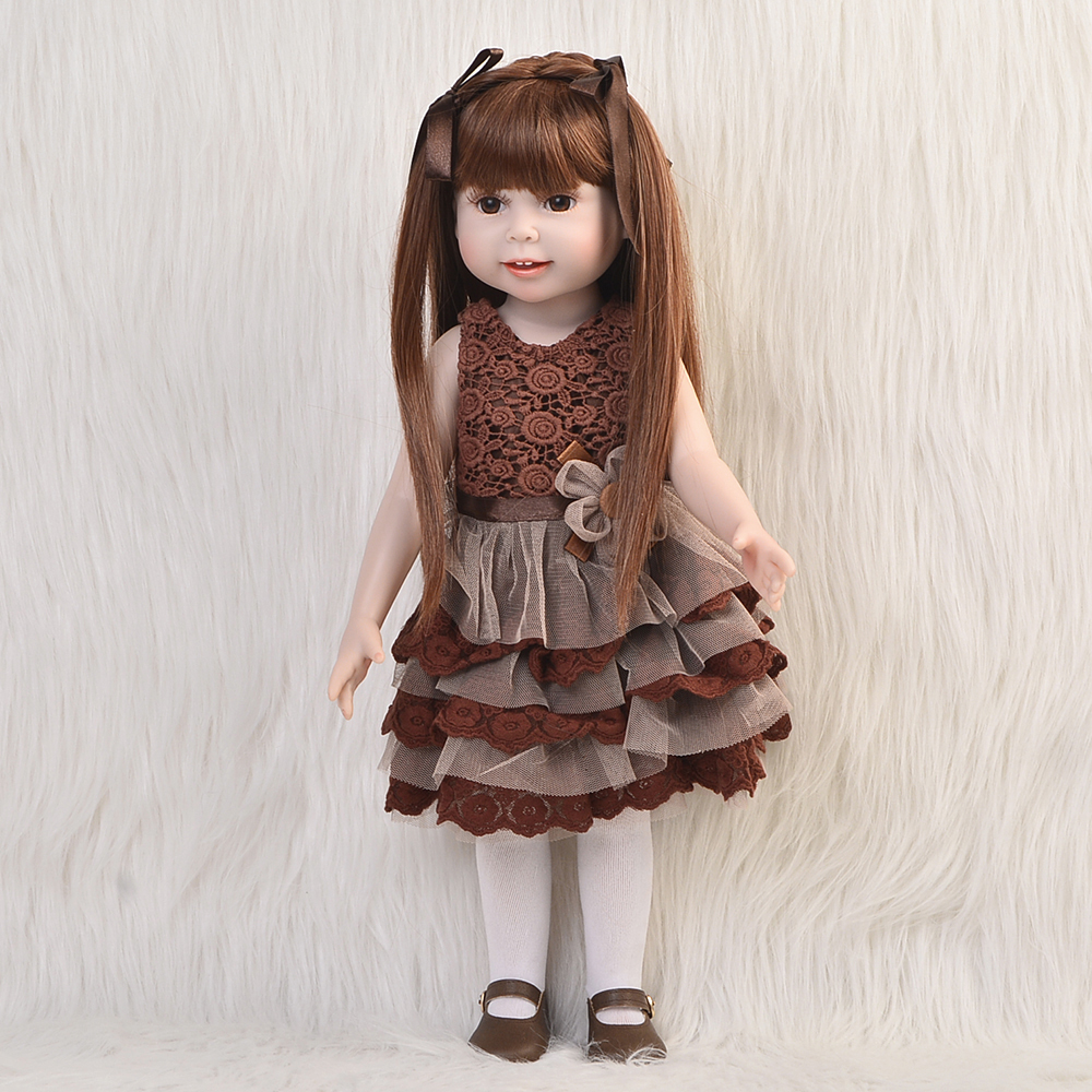 Hot Sale 18'' 45 cm American Doll Full Silicone Body Princess Girl Baby Doll Toy Wear Brown Dress Kids Xmas Gifts Free shipping free shipping 2016 hot popular new style 18 american girl doll clothes clothing baby gift b301