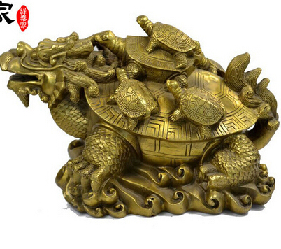 Copper Br Chinese Crafts Decor Ation Asian Lucky Xiangtai Dragon Turtle Decoration Home Accessories Technology