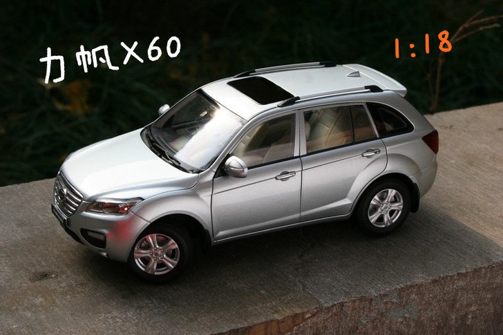Silver 1:18 Scale Chongqing Lifan X60 SUV Diecast Model Car Cross Country Vehicle Off-road Automobile 1 6 diecast model bike yamaha cross country motorcycle newray