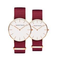 Nazeyt люксовый бренд Ruby red Мужская и Женская Повседневная Наручные часы нейлон продвижение платье подарок пара кварцевые часы