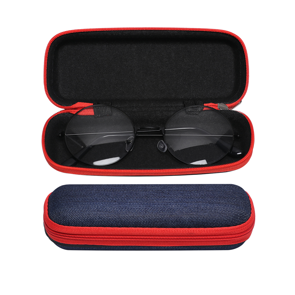 Eyewear Accessories Apparel Accessories New Unisex Fashion Sunglass Protector Denim Fabric Leather Glasses Box Zipper Hard Shell Protector Crush Resistance Container