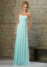 Charming Strapless Light Green A-Line Draped Floor Length Long Bridesmaid Dresses SH0639