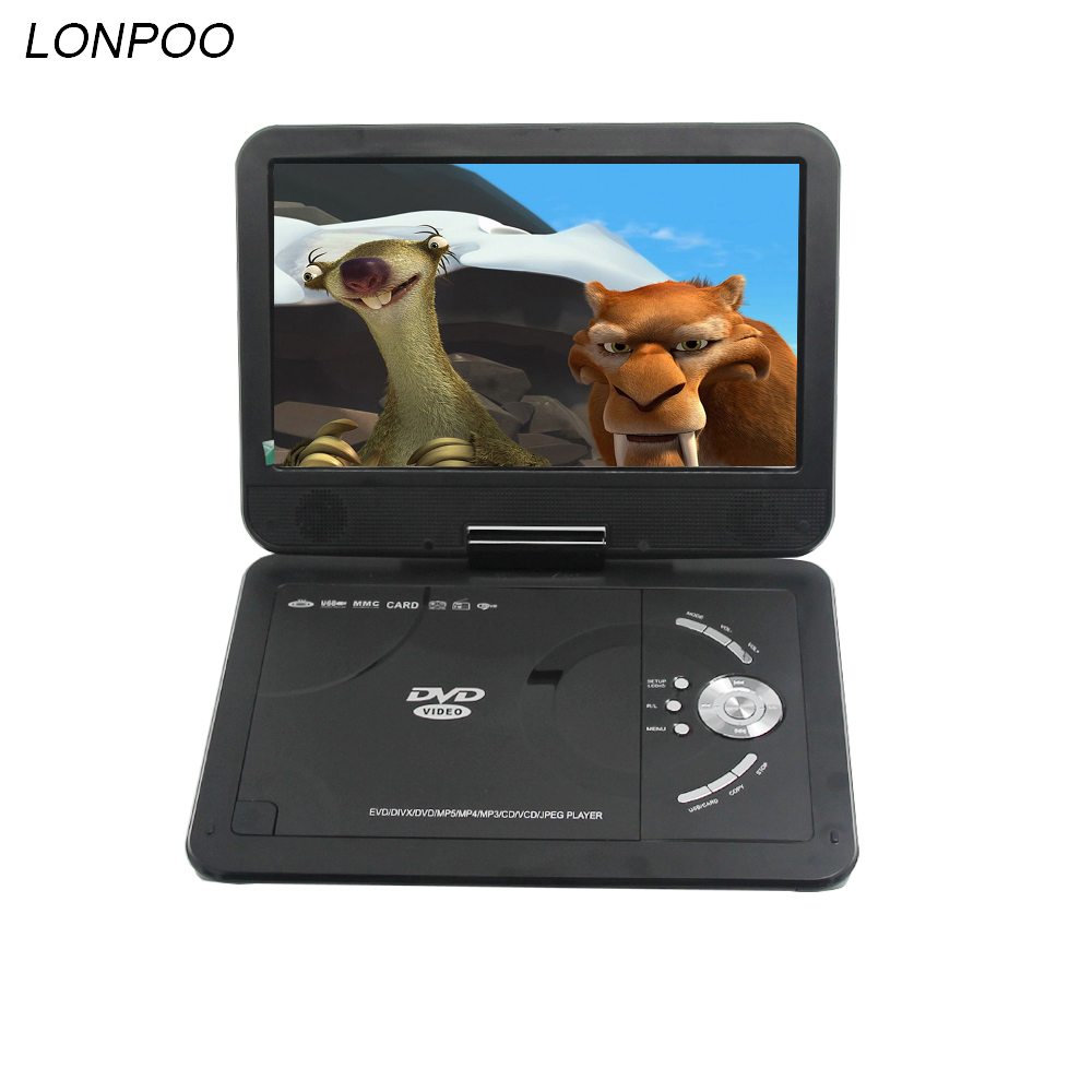 LONPOO Portable DVD Player 10.1 inch DVD Player with TFT LCD Screen Multi media dvd player With Analog TV and game function 9 portable dvd player w game radio function black