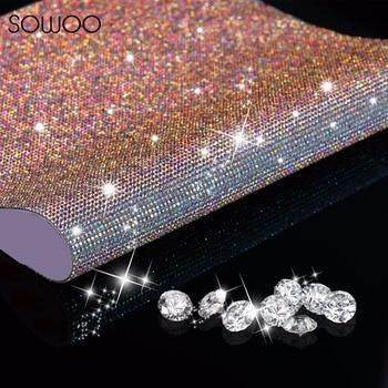 40*60CM SS6 Glass Rhinestone Trim Crystal Beaded Applique Hotfix Iron On Strass Mesh Banding In Roll DIY Car Decoration Sticker