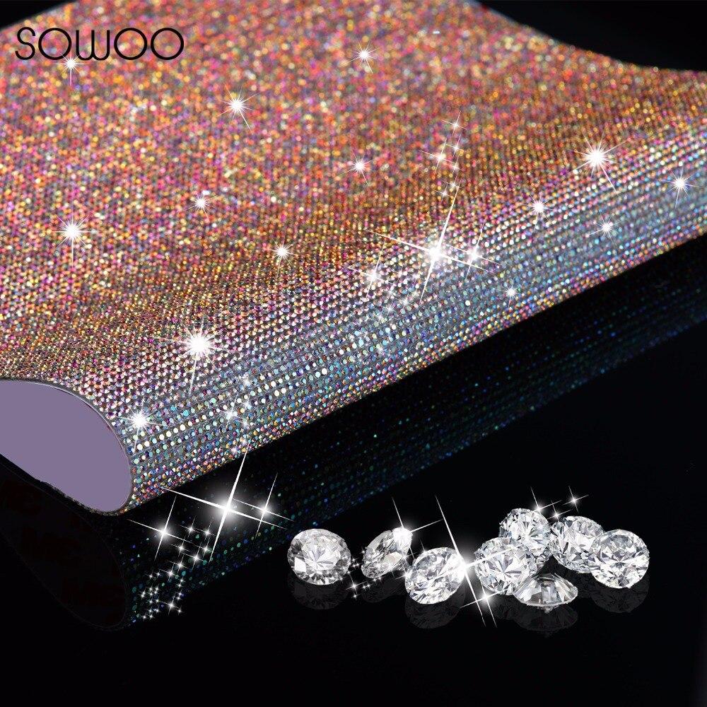 40*60CM SS6 verre Strass garniture cristal perlé Applique correctif fer sur Strass maille baguage en rouleau bricolage voiture décoration autocollant