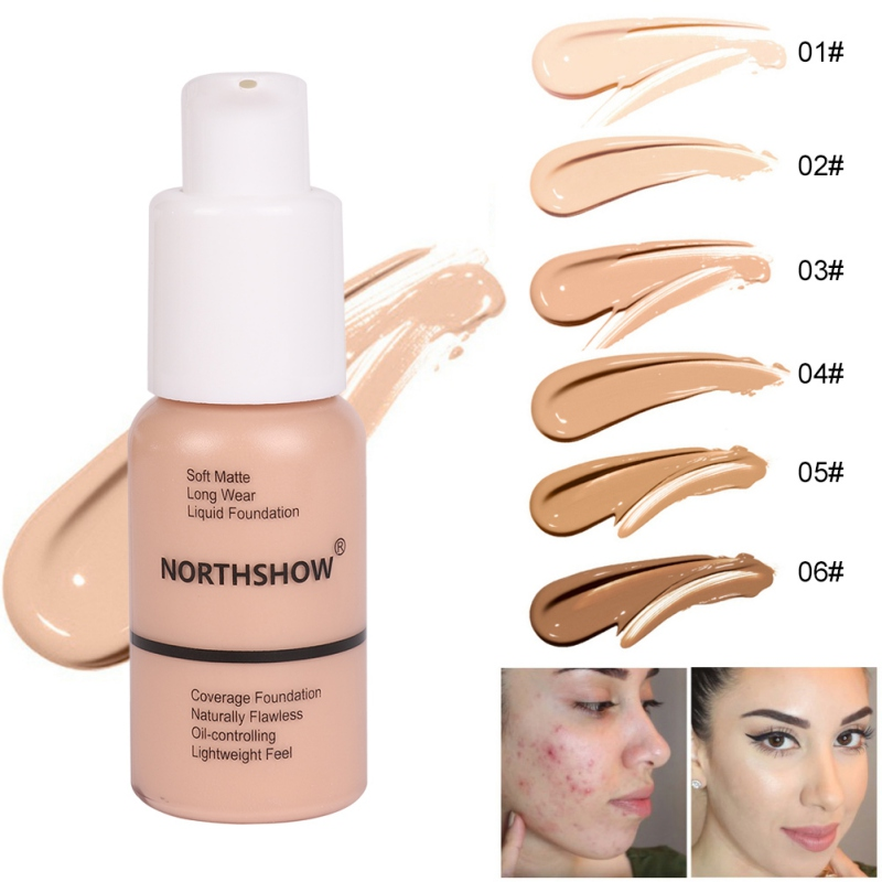 Matte Concealer Liquid Foundation Moisturizing Strong Cover Freckles Scars Acne Even Skin Color Facial Foundation 2019 New