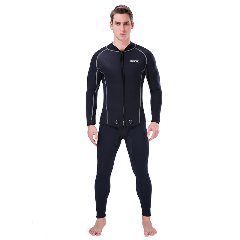 Slinx Men 3mm Neoprene Scuba Diving Jacket Wetsuit Keep Warm Long Sleeve Crotch Jacket for Snorkeling