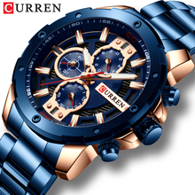 Relogio Masculino CURREN 2019นาฬิกาCasual Chronographปฏิทินนาฬิกาสีฟ้าและRose Goldสแตนเลสสตีลนาฬิกาข้อมือ