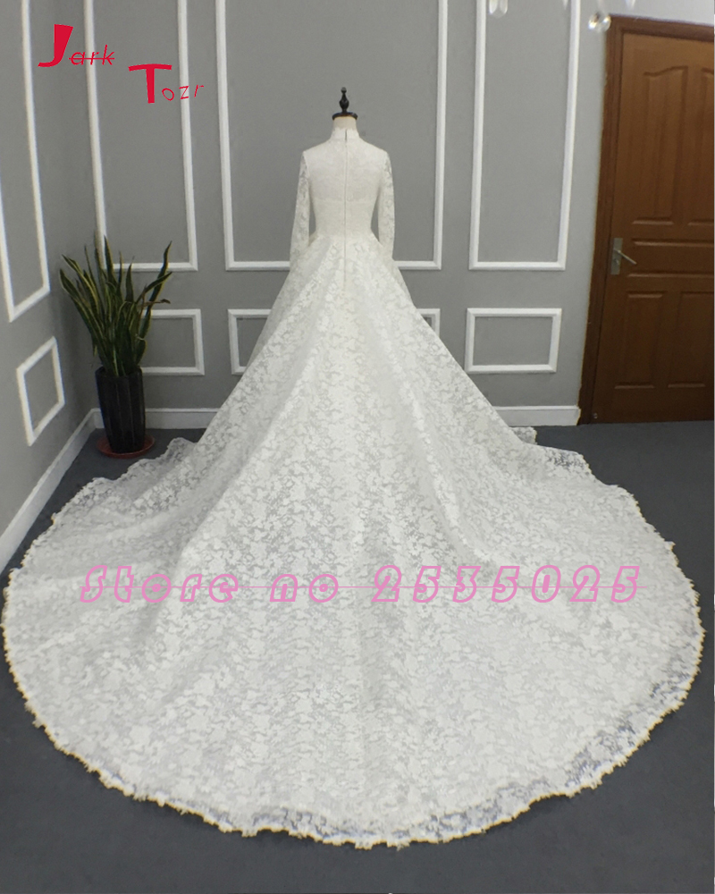 Jark Tozr 2019 New Arrive High Neck Long Sleeve Bridal Gowns Mariage  Aliexpress Login Appliques Lace Wedding Dresses Gelinlik-in Wedding Dresses  from ... 7b28cdda9713