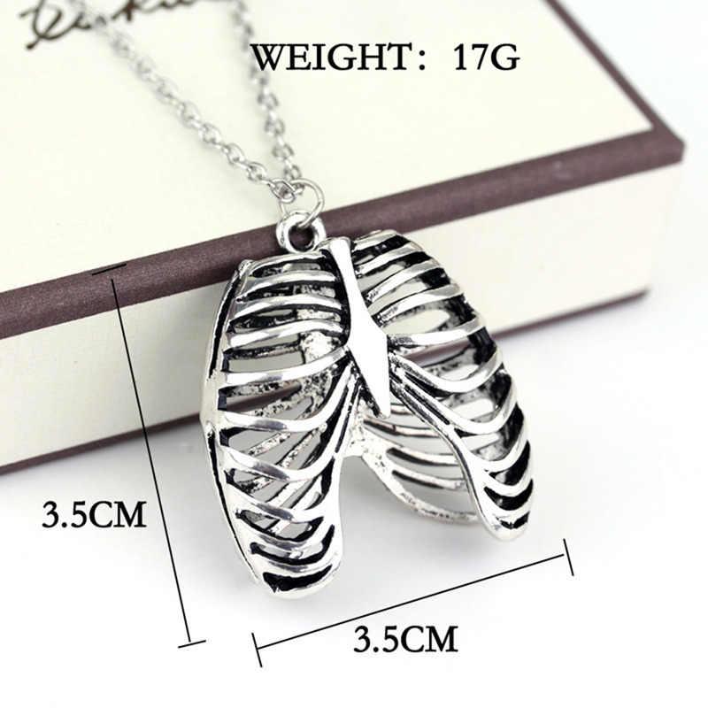 Gothic nowość anatomia anatomiczne ludzkie żebra naszyjnik Retro ciało klatka piersiowa szkielet urok naszyjniki mężczyźni/kobiety biżuteria prezenty