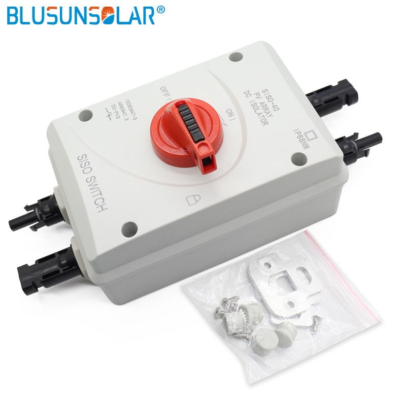 10pec/ lot High performance 4 Pole 1200V DC 32Amp Solar Electrical SISO DC Circuit Isolator Switch with 2 pairs MC4 Connectors
