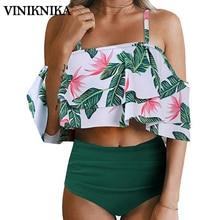 VINIKNIKA Sexy Ruffle Print Bikini Set Women Off Shoulder  Push up Padded  Swimsuit Swimwear Beach Bathing Suits biquini 2019