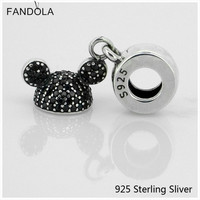 Authentic 925 Sterling Silver Jewelry DIY Dangle Beads Mouse Sparkling Ear Hat Gift Beads Charms For