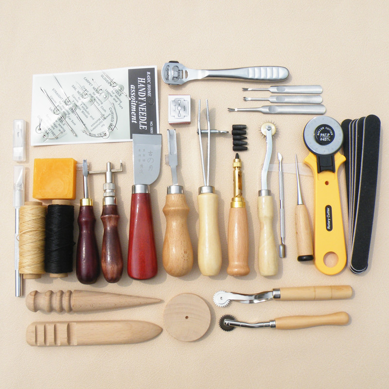 Najlepiej sprzedająca się skóra narzędzia rzemieślnicze zestaw DIY nóż do ostrzenia woskowana nić skóra krawędzi narzędzie do bigowania zszywanej skóry narzędzie przeszycia koła w Przyrządy i akcesoria do szycia od Dom i ogród na  Grupa 1