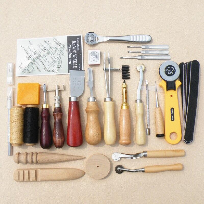 Vente chaude en cuir artisanat outils ensemble DIY biseauter couteau ciré fil en cuir bord couture groover outil couture roue dans Coudre outils et accessoires de Maison & Jardin