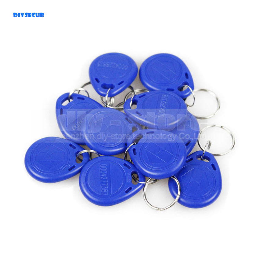 DIYSECUR 10pcs Blue125Khz RFID Card Keyfobs For Access Control System And Other RFID Reader Use