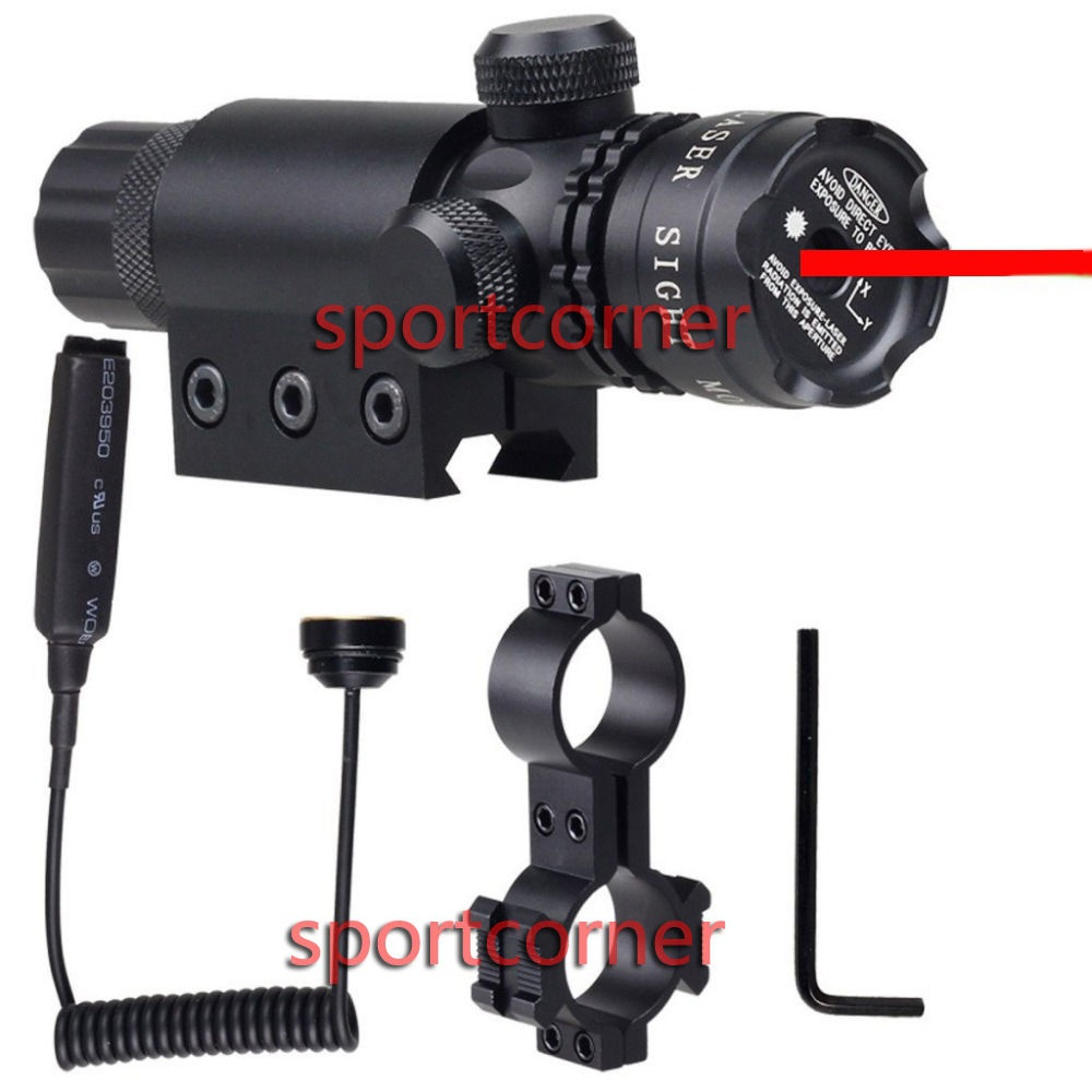 tactical Red Dot Laser Sight rifle gun scope w/rail & barrel mount cap pressure switch black