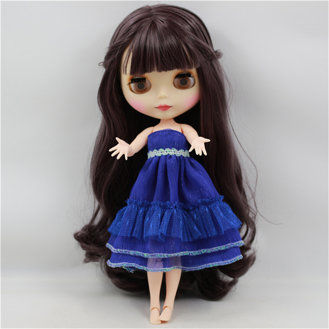 Blyth Doll Nude White Skin Deep Purple Long Wavy Hair With Bangs Matte Face Joint Body bjd DIY girl toy gift No.300BL9219  4