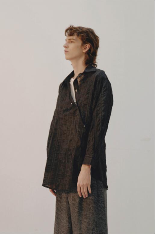 Manches Printemps Rétro Coton Patte Nouveau Oblique Longues Chemise Rayé Mode De Noir À 2018 Personnalité La Hommes Lâche Z7nPYn1x