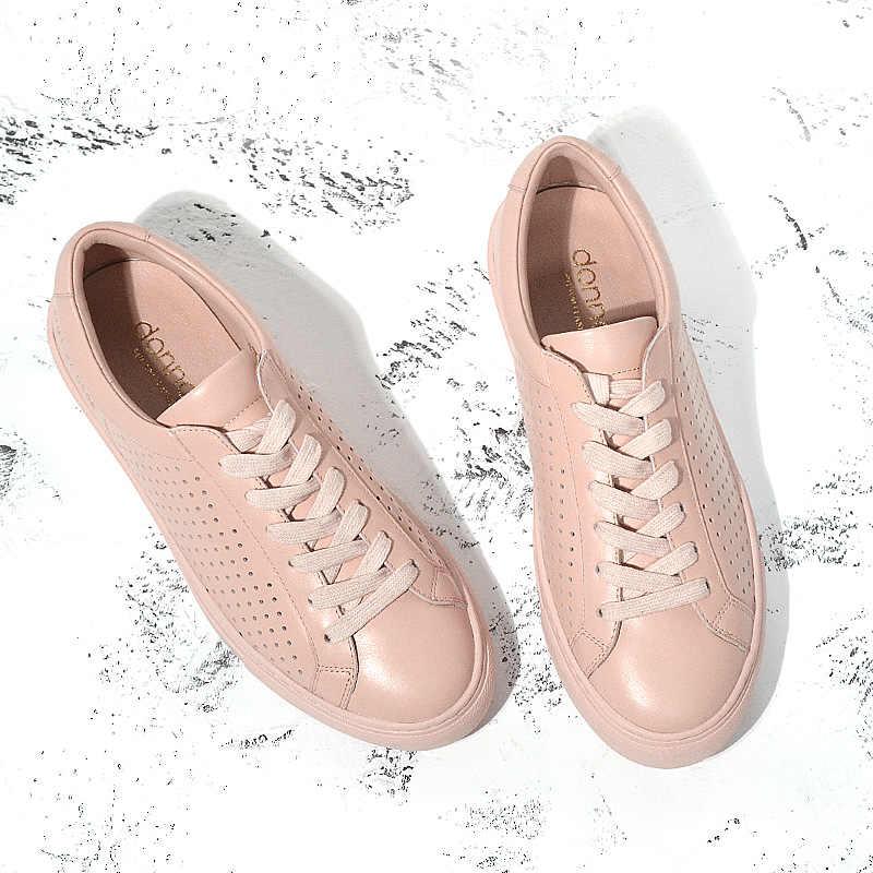 Donna içi boş nefes düz ayakkabı kadın hakiki deri 2019 yaz moda rahat bağcıklı ayakkabı beyaz siyah pembe bayanlar