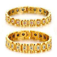 Magnetic Couple Stainless Steel Magnet Stone Bracelet Cubic Zirconia Magnetic Bracelet Gold Color Jewelry