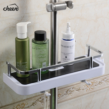 цена на Cheen Bathroom Shelf Shower Storage Rack Holder Shampoo Bath Towel Tray Home Bathroom Shelves Single Tier Shower Head Holder