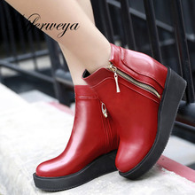 2016 Fashion women winter shoes big size 34-48 Height Increasing high heels solid PU leather Round Toe Ankle boots AYY-906-5