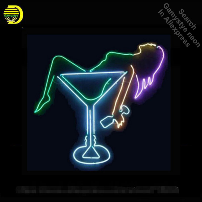 Lady Cocktail Neon Sign CUP Glass Tube Neon Bulb Sign Beer