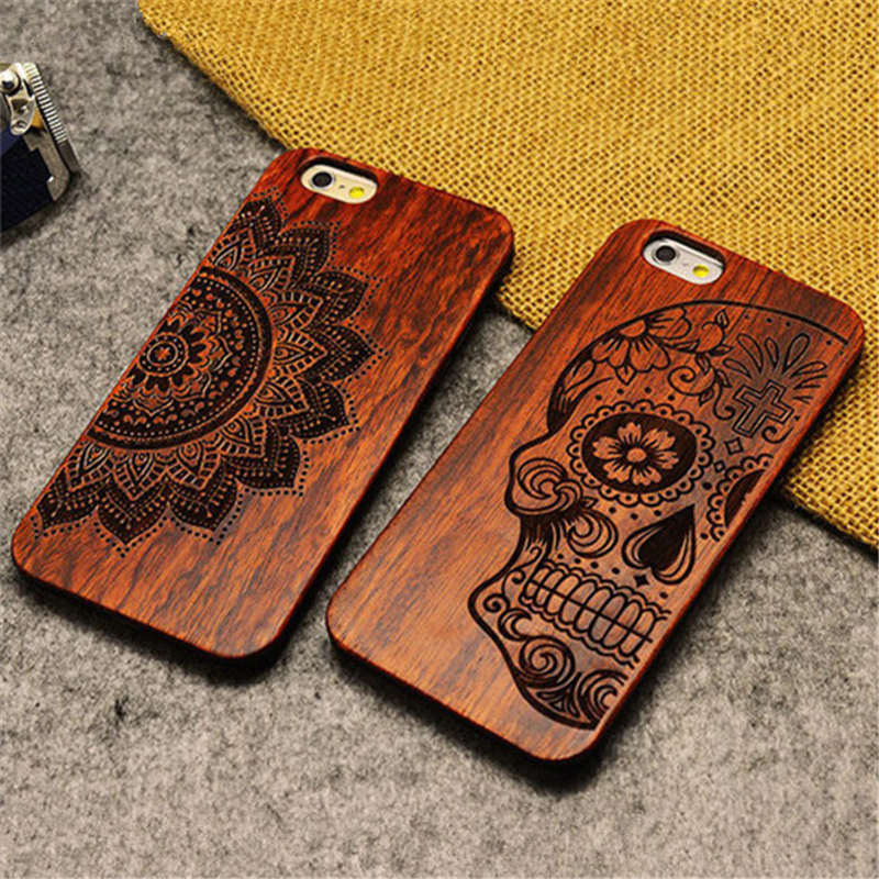 Retro PC Wood Skull Case for iPhone 6 6S Cover Novetly Vintage Case for iPhone 6