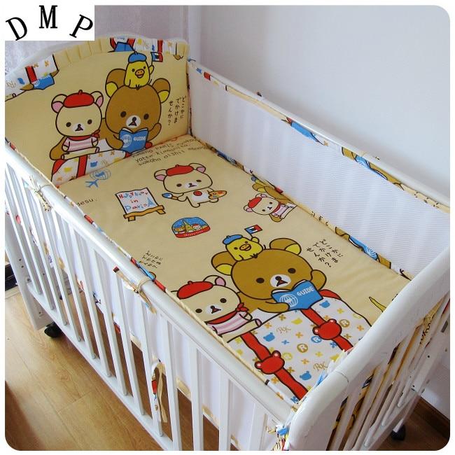 Promotion! 5PCS mesh cartoon Cot Baby Bedding Set Cotton Crib Kids Newborn Cot Bedding Baby Set,include:(4bumper+sheet)