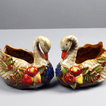 Swan Ceramic Handmade Fashion Lovers Figurine Storage Holder Decoration Beauty Desktop Home Accessories Gift