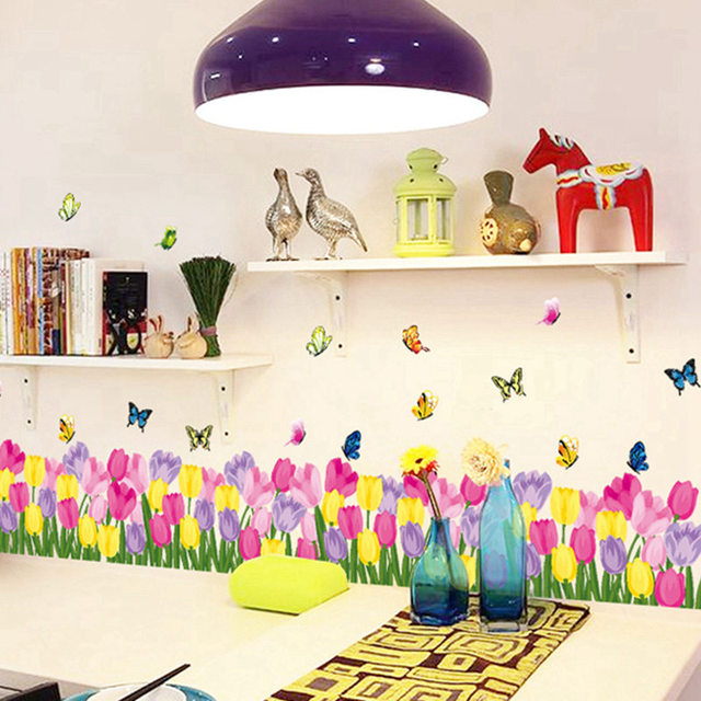Decoration Home Tulip Flowers Butterflies Garden Wall Stickers Vinyl Decals Waterproof Art Mural Bedroom Parlor Decor & Decoration Home Tulip Flowers Butterflies Garden Wall Stickers Vinyl ...