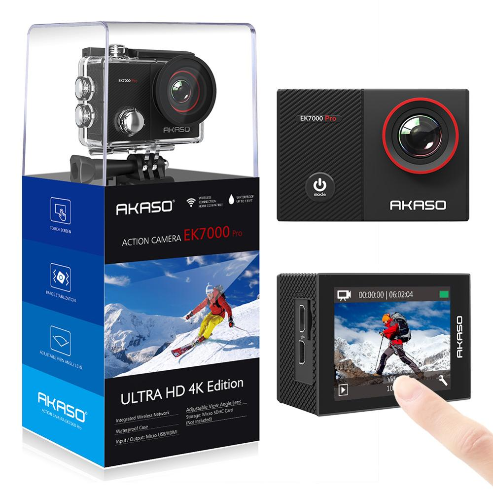 AKASO EK7000 Pro 4K Action Camera with Touch Screen EIS Adjustable View Angle 40m Waterproof Camera Remote Control Sports Camera
