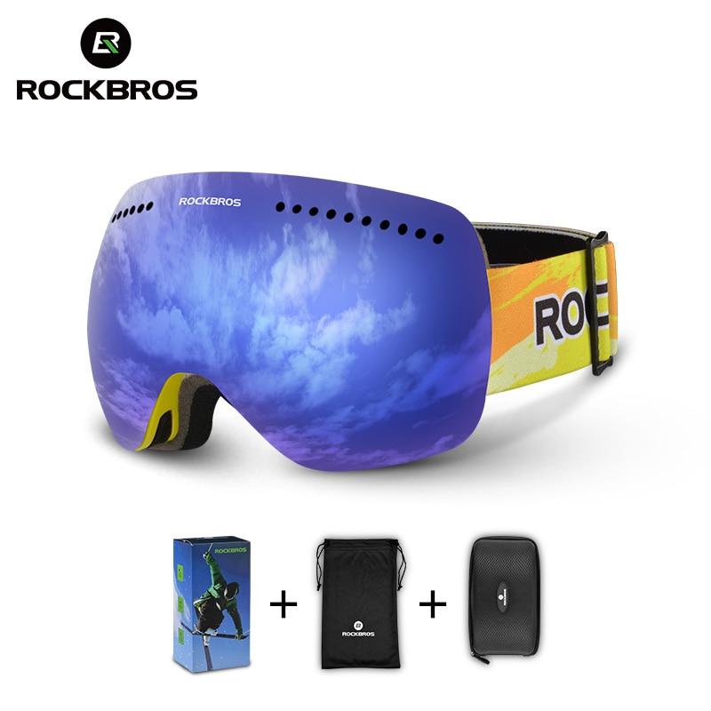 ROCKBROS Snow Goggles Skiling Glasses Anti-fog Wind Dust UV Lens